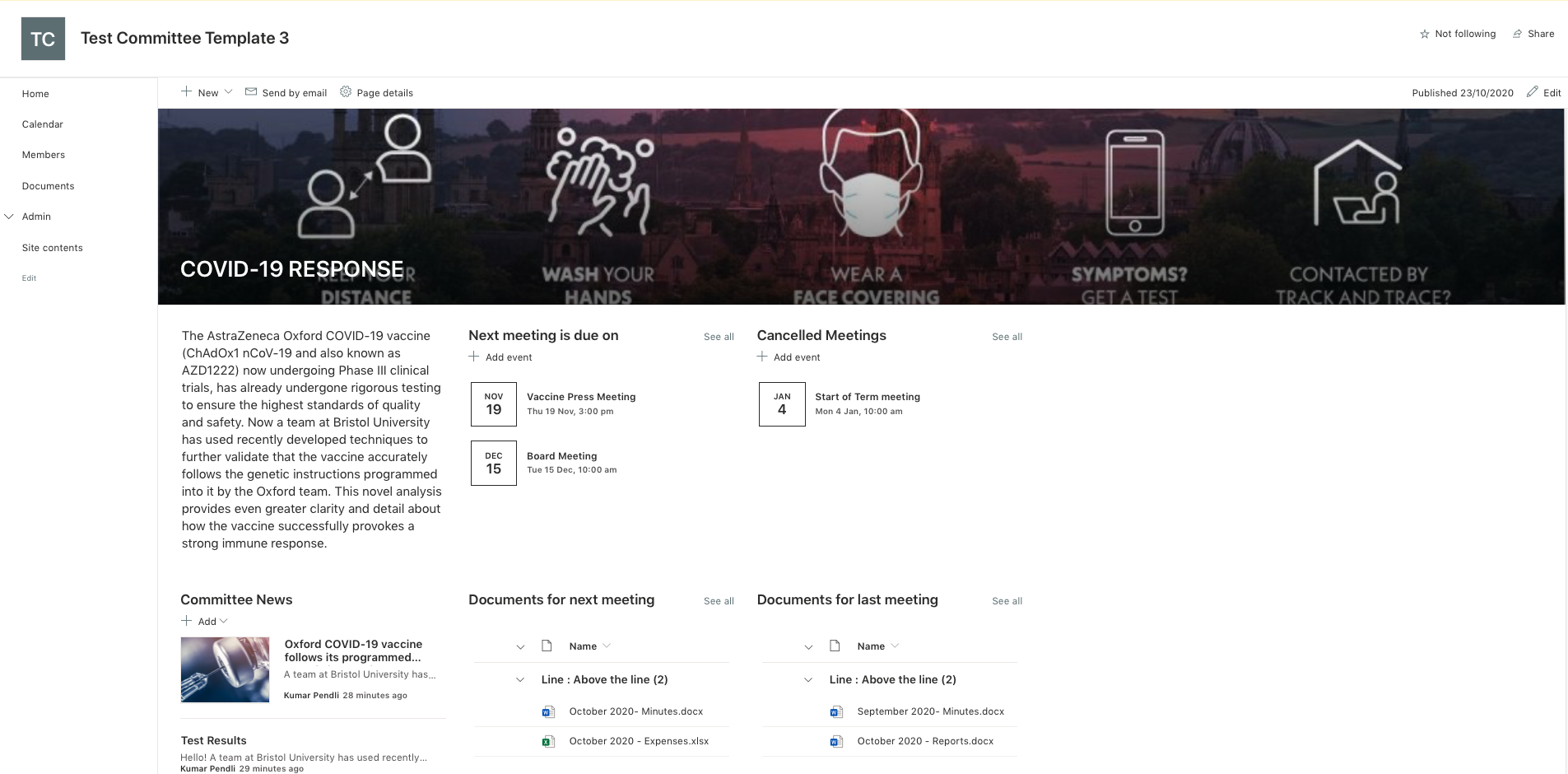 Screenshot of the Committee template in SharePoint Online, showing dates and documentation for committee meetings