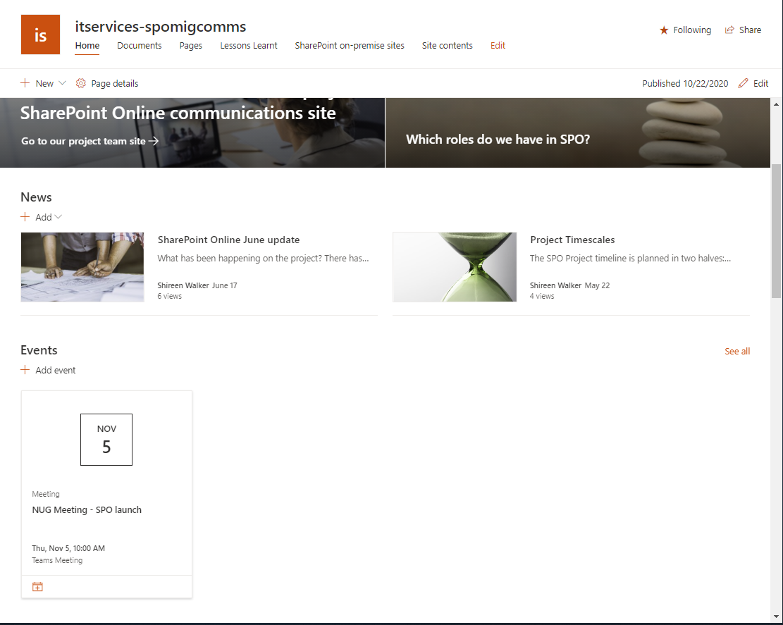 Screenshot of a Communications site in SharePoint Online, showing News and Events web parts