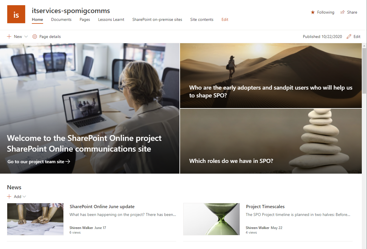 Screenshot of a Communications site in SharePoint Online, showing 3 hero images with links to parts of the site